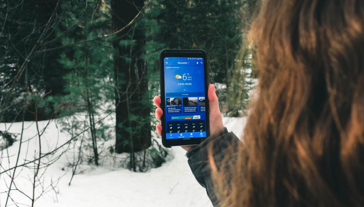 Počasí zobrazené prostřednictvím mobilní aplikace.